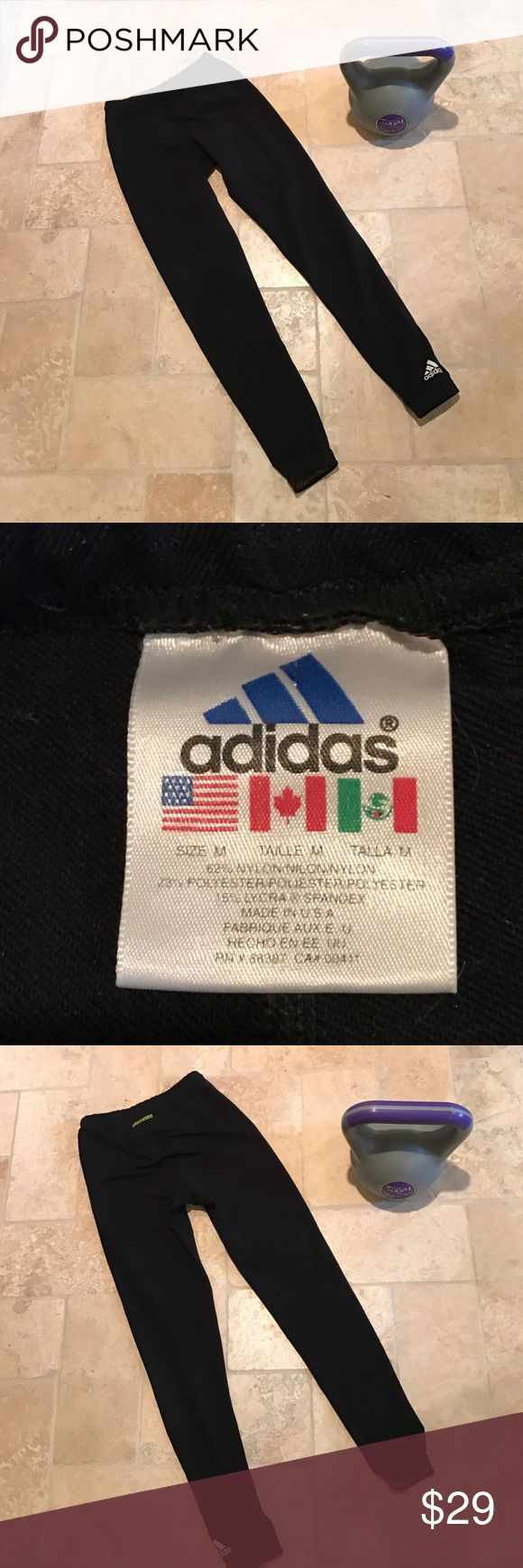 "Adidas leggings Good condition- no rips, tears or stains. Logo on left ankle. ""Equipment"" on tush.Minimal piling. Made in the 🇺🇸 Nylon/Polyester/Spandex blend. Classic. Adidas Pants Leggings"