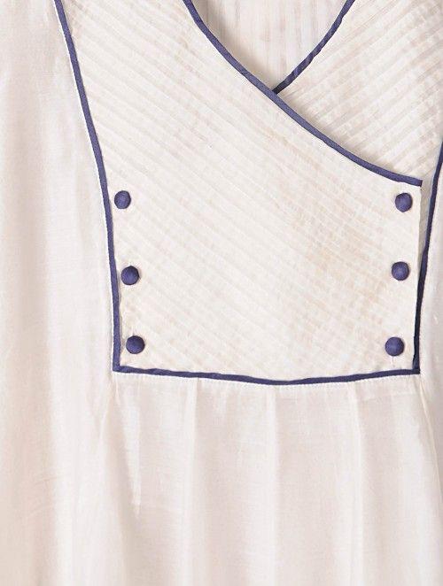 White-Ivory Pintuck Kalidar Hand woven Chanderi Kurta