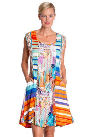 Pueblo Sleeveless Dress in Flame