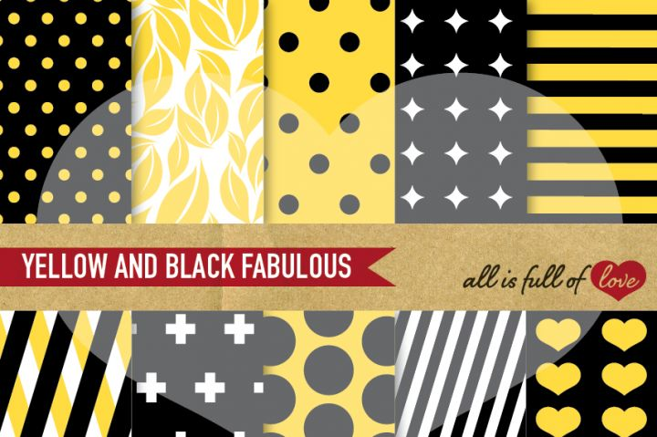 Yellow and Black Geometric Patterns :: Printable…