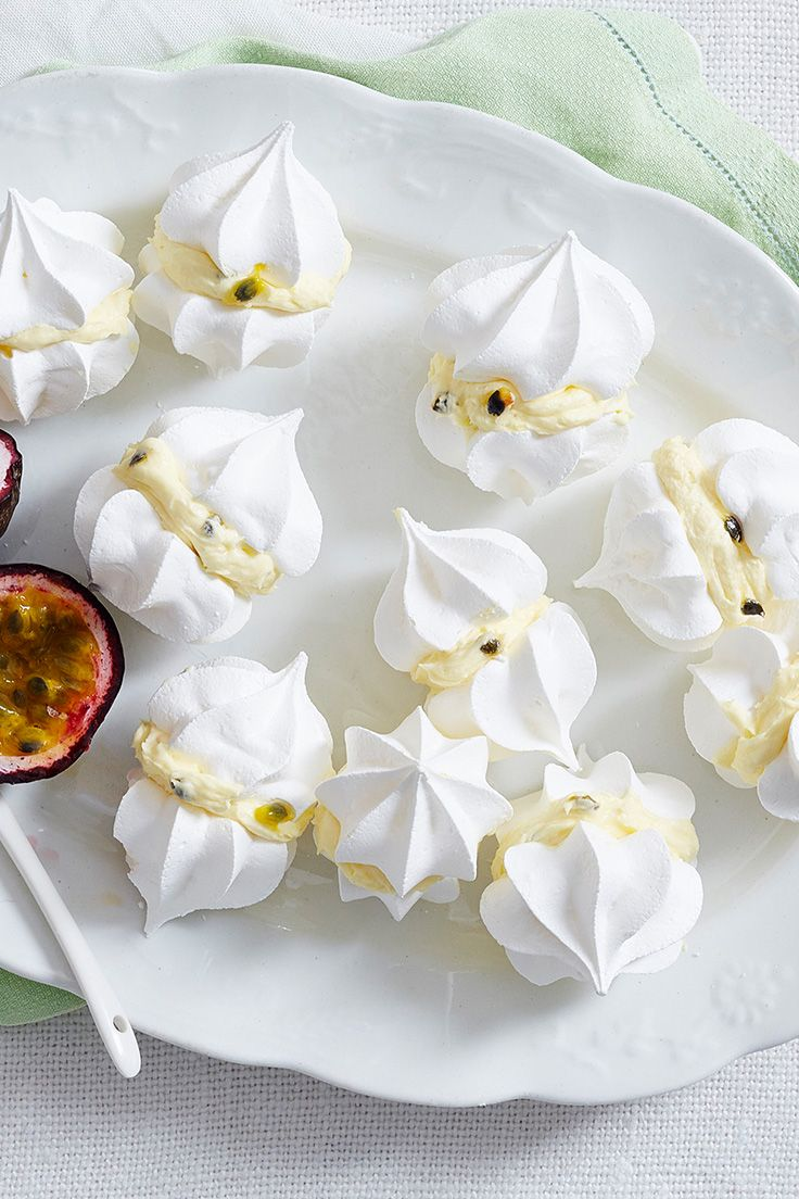 Kiss your sugar cravings goodbye with these bite-sized treats! The sweet and tangy passionfruit butter makes the perfect filling for the crispy mini meringues. Just try and stop at one!