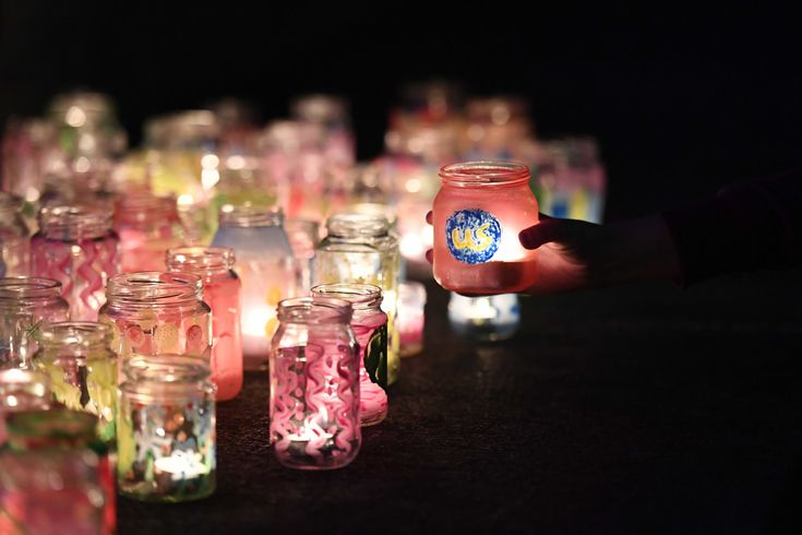 Candles lit during the Tenovus Cancer Care Goodnight Walk. (Photo by Matthew Horwood)