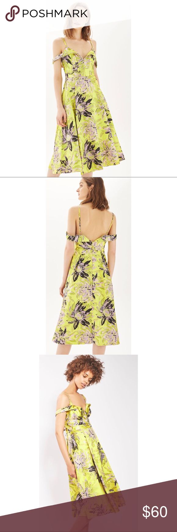 TOPSHOP Yellow Floral Jacquard Midi Prom Dress New Without Tags!  $210 TOPSHOP Yellow Floral Metallic Jacquard Midi Prom Dress  A sunny spring wedding or school dance with your closest gal pals, this '50s-inspired midi dress covered in lush metallic blossoms is ready to take you there in elegant style.  Garment is labeled:  EUR 36, US 4, UK 8. Fits like a US 0-2.  - Hidden back zip closure  - Sweetheart off-the-shoulder neck  - Thin straps  - Pleated skirt  - Lined  - 94% polyester, 6%…