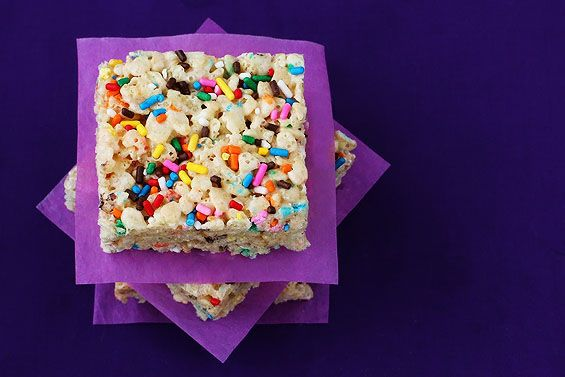 Cake Batter and Jimmies Rice Krispies Squares
