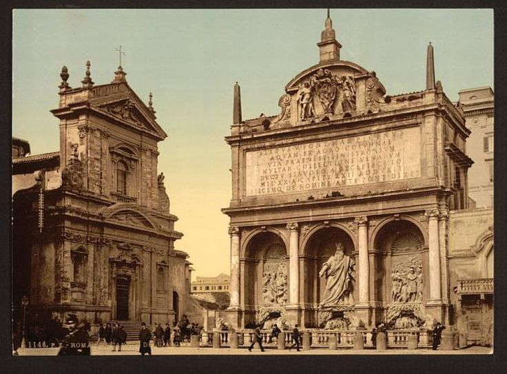 Roma nelle prime foto a colori:  Fontana dell'Acqua Felice 1890