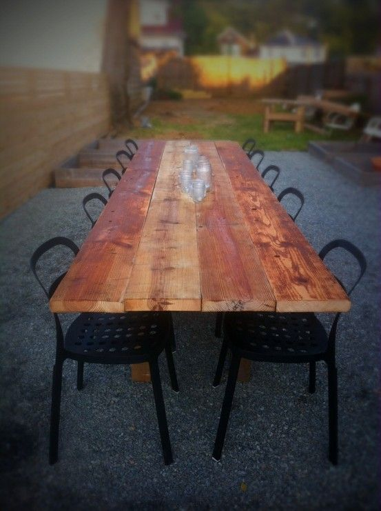 How fun would it be to make a long table like this for the lake so we could all sit together :)  Just for fun!  This old barn wood table was made for $32...stunningly beautiful.