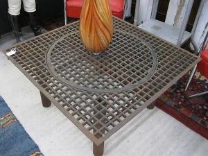 Machine Age Modern Coffee Table Industrial Steel Grate