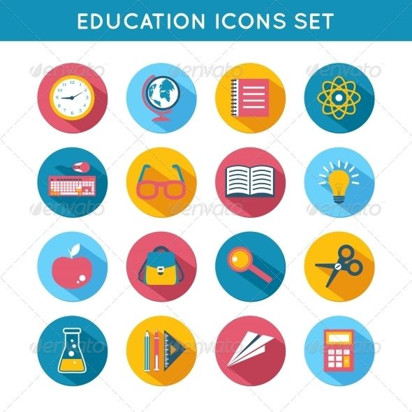 Education Icons Flat Set — Vector EPS #college #social • Available here → https://graphicriver.net/item/education-icons-flat-set/7606509?ref=pxcr
