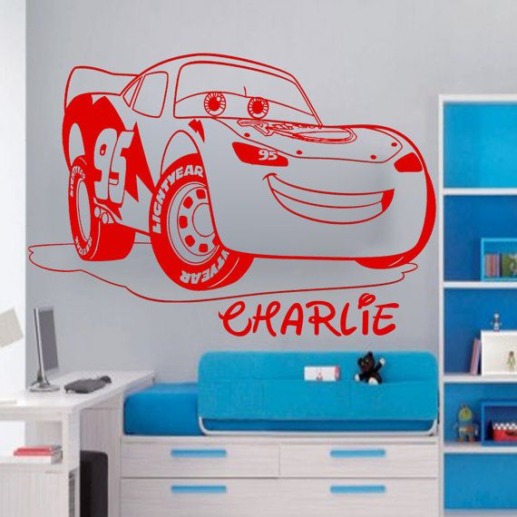 Disney MCQUEEN LIGHTNING CAR Personalised Wall Sticker Art Decal Vinyl Kid room 001