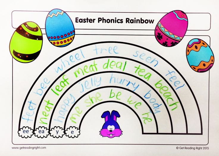 Phonics Rainbow Worksheet! What better way to keep those little brains enthralled, than with some spelling representation practice over Easter!