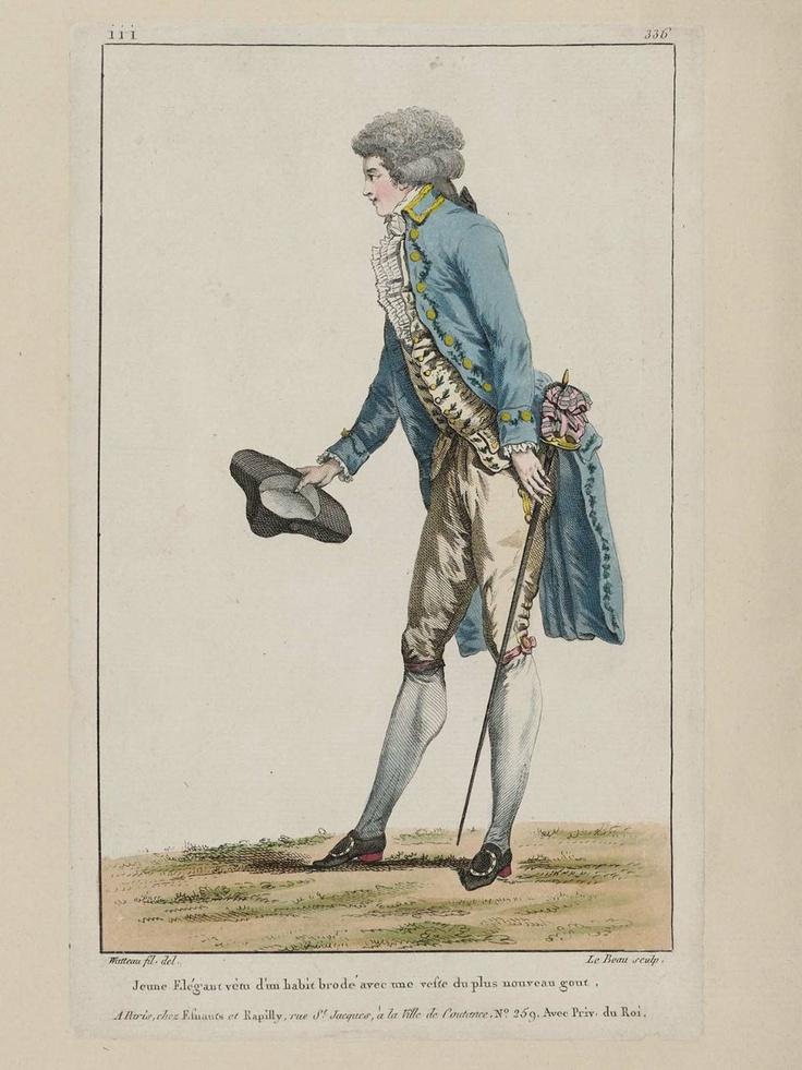 1787, Gallerie des Modes et Costumes Français.  Jeune Elégant vêtu d'un habit brodé avec une veste du plus nouveau gout.