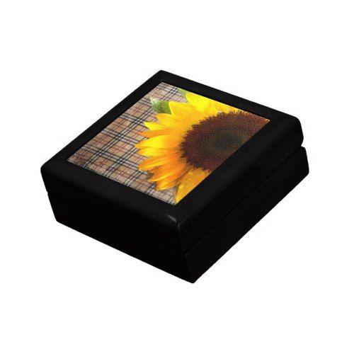 western country plaid sunflower wedding keepsake box