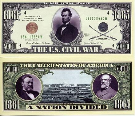 Abraham Lincoln Civil War Bill W/Protector