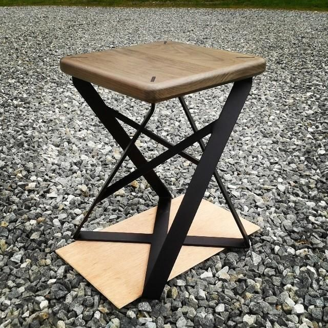 Lofty Short Stool in Drifted Maple + Matte Black Steel