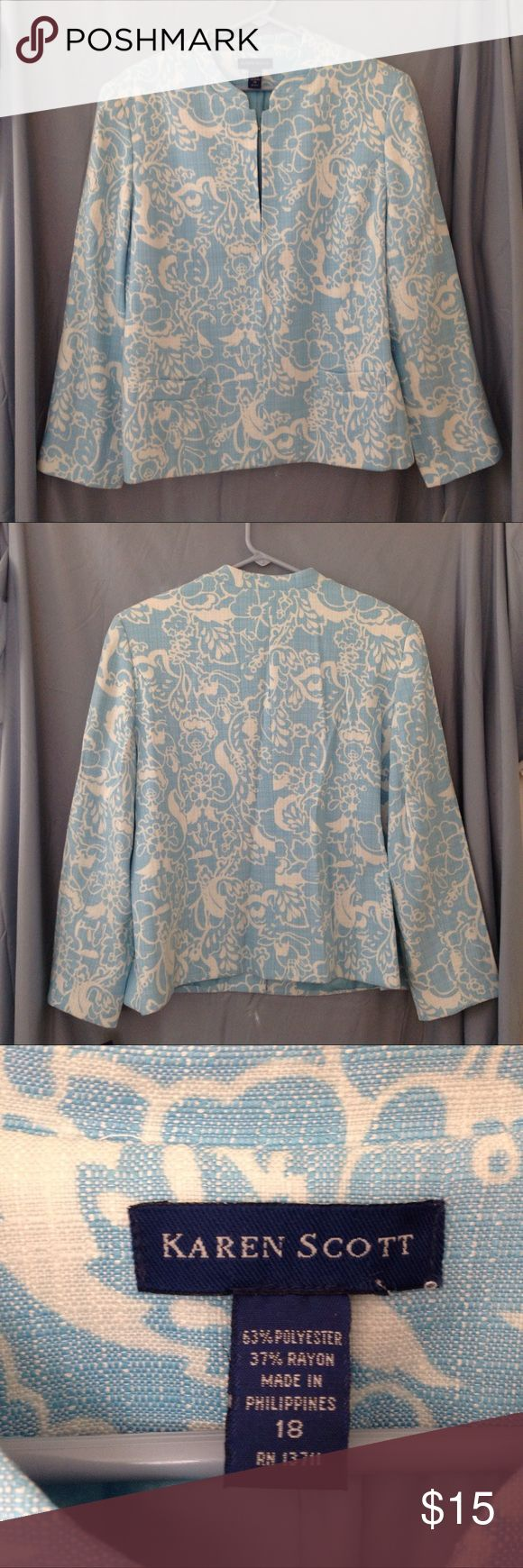 KAREN SCOTT lightweight pale blue jacket NWT Has 2 front pockets and hook and eye closure in the front.  New with tags.  Color may look different on your screen. Karen Scott Jackets & Coats