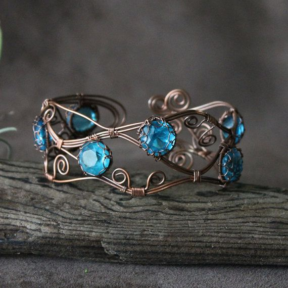 "Wire Wrapped Open Copper Cuff: ""Cool Caribbean Wave"""