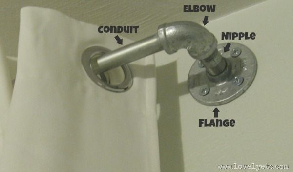 conduit piping for curtain rods. nothing i have seen (premade) has hit me like this idea! spray paint black