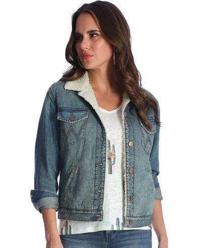Wrangler Women's Indigo Sherpa Lined Denim Jacket - Country Outfitter