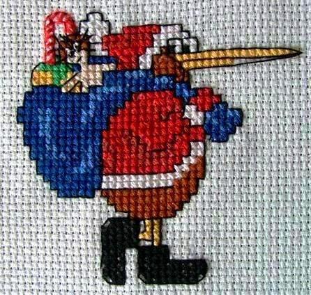 Kiwi Carrying Santa Sack Cross Stitch Pattern by KraftyKiwis