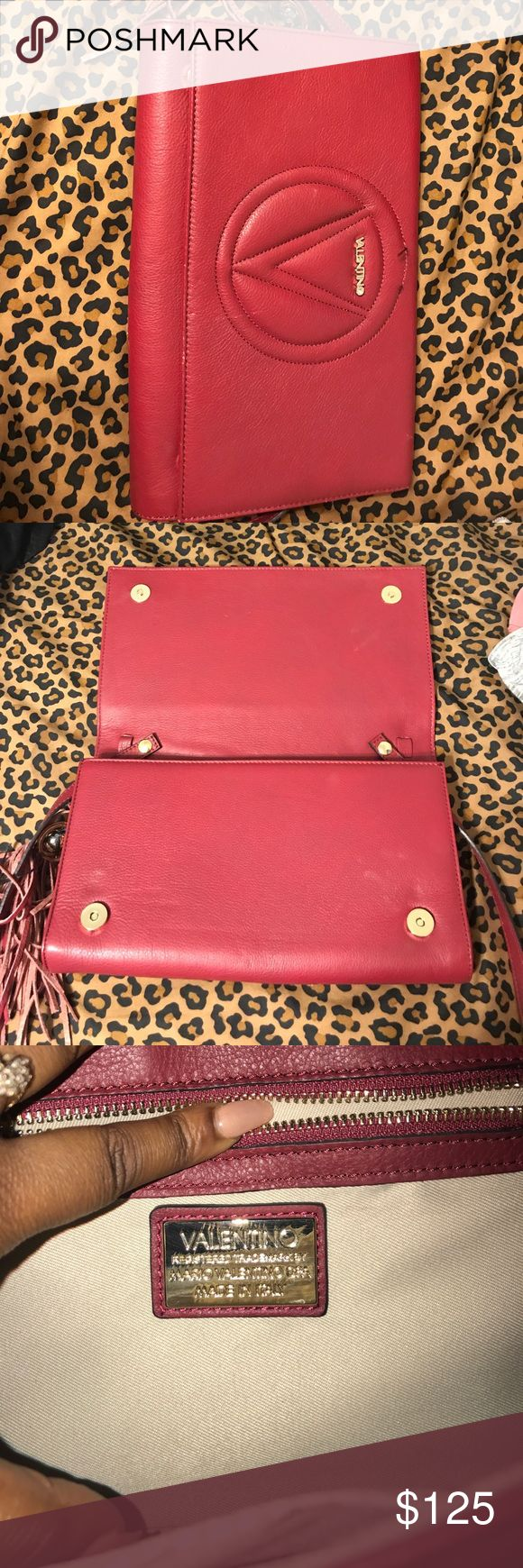 Valentino Mario Valentino Lena Convertible Clutch Valentino by Mario Valentino Women's Lena Convertible Leather Clutch - Poppy Red .   a little wear & tear around logo . Valentino Bags Clutches & Wristlets