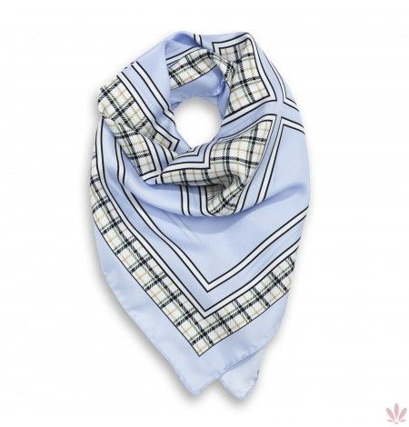Scottish Azure Square Scarf. Luxury high quality made in Italy by Fulards free shipping.