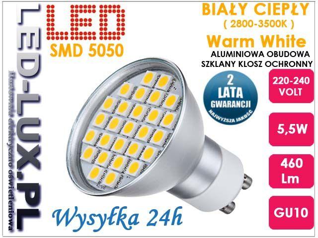 Żarówka GU10 27 LED SMD 5,5W = 60W biała ciepła (3557886920) - Allegro.pl - Więcej niż aukcje.