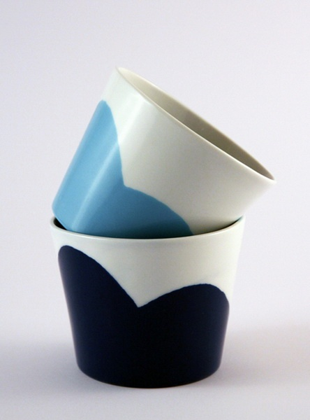 White with blue and blue. Porcelain cups and flower pots (spring/summer collection 2012 by Tereza Severýnová)  www.najs.cz
