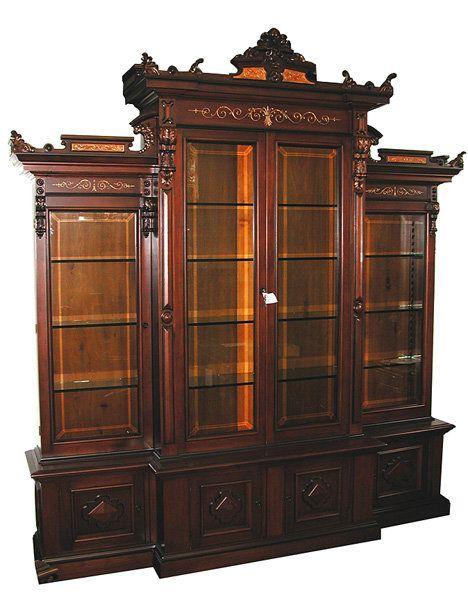 Large American Renaissance Revival Four Door Bookcase Artitechure Furniture Misc