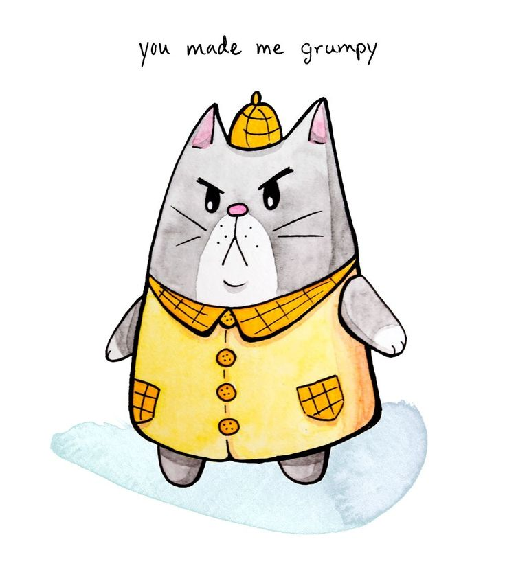 Cute (and grumpy) kitty illustrated by Vena Carr