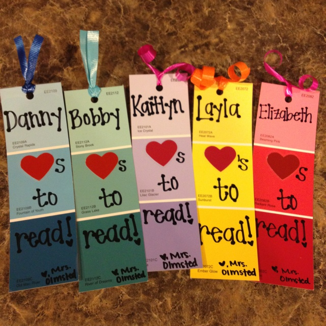 Paint chip bookmarks for students.