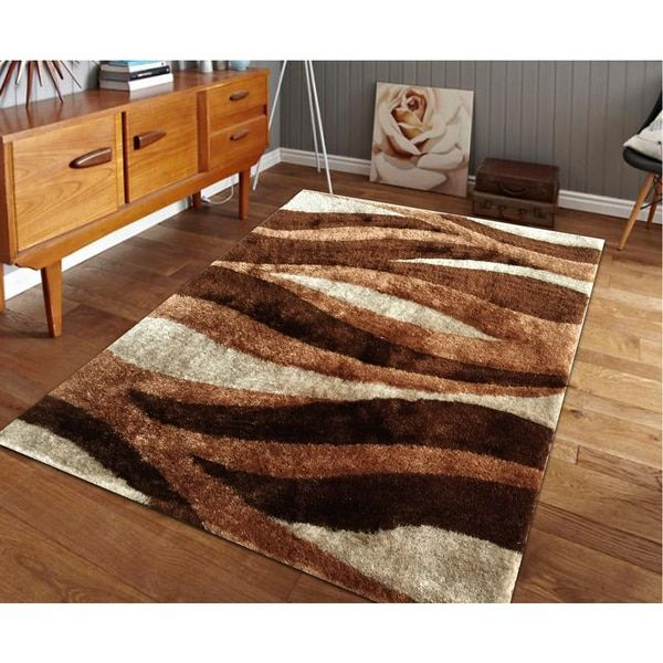 Hand Tufted Brown Shag Area Rug (5u0027 ...