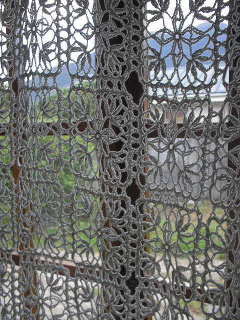 Crochet Curtains by macaperezberrios ...love the grey!