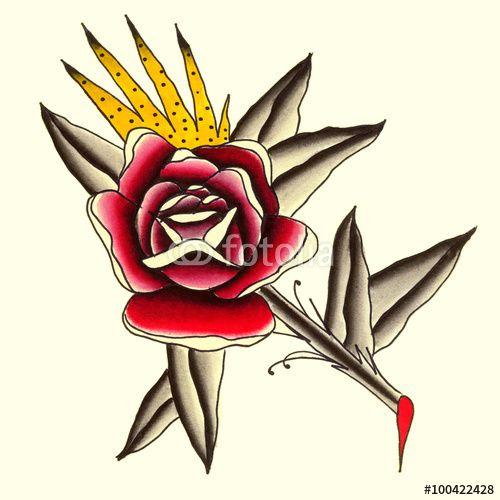 Rosa rossa Illustrazione Tatuaggio in stile old school