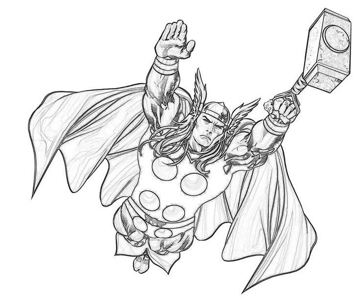Coloriages à imprimer - Thor (Super-héros)                                                                                                                                                     Plus