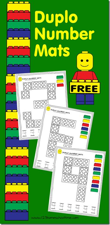 Lego Duplo Number Mats - Help kids practice building and writing numbers with these FREE printable Lego number mats. These are great for Preschool and Kindergarten age kids!