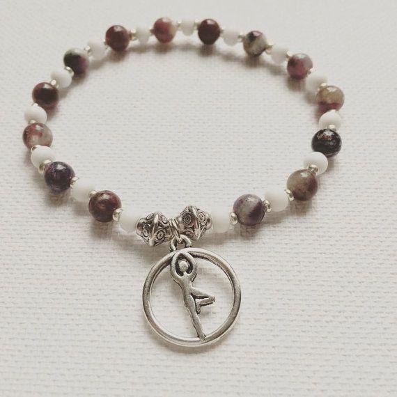 Yoga  Tree Pose Charm  Pink Tourmaline  Heart Chakra by misssfaith