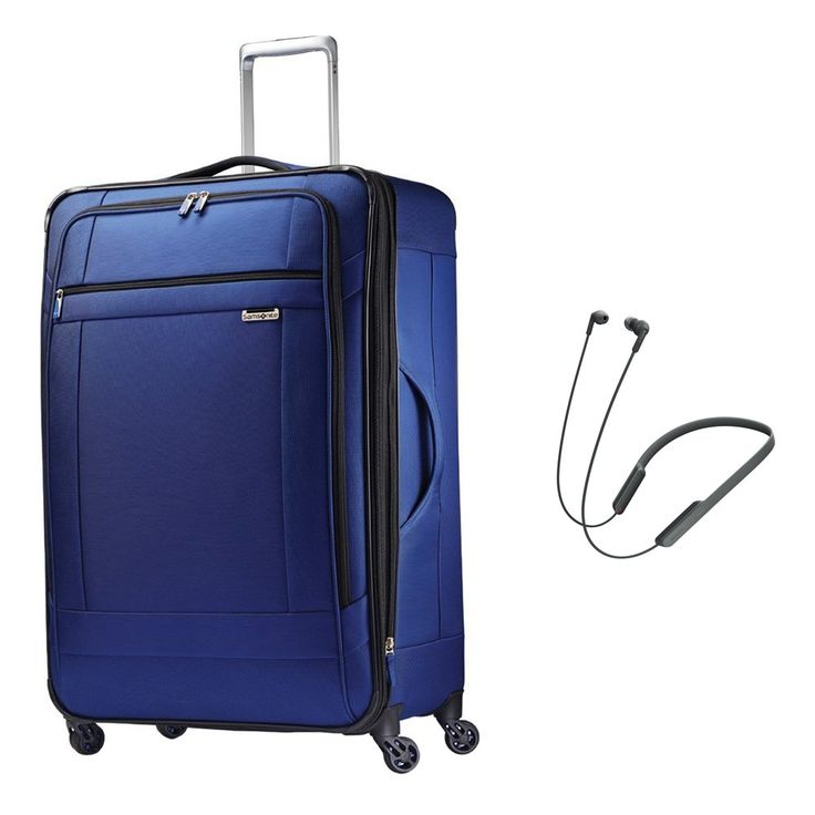 "Samsonite SoLyte 29"" Expandable Spinner Upright Suitcase Luggage (73852-1875) - True Blue w/ Bonus Sony Bluetooth Wireless, In-Ear Headphones with NFC (Black)"