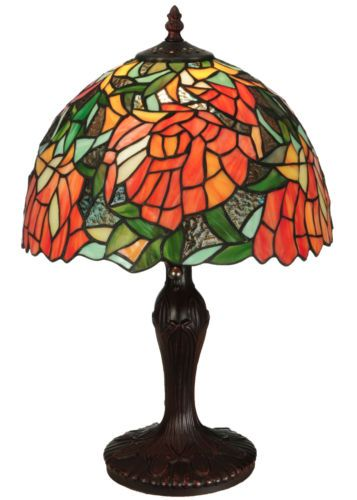 Meyda lighting 18h tiffany stained glass lamella floral accent table lamp ebay