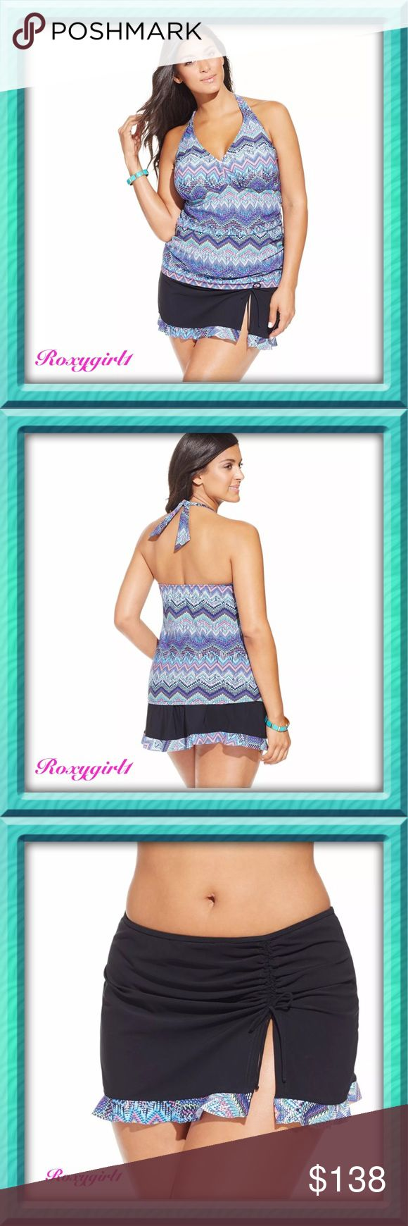 Profile by Gottex Skyline Skirted Tankini Profile by Gottex Skyline Skirted Tankini Brand New! This suit is the bright choice with a flattering chevron pattern in sunset hues & a flattering halter neckline. Sewn in wireless soft cups.  V-neckline.  Ruching under bust.  Ruched at the sides to camouflage tummy.  Skirted bottom with attached brief Solid color; printed hem; slit at left front; adjustable tie at front Pull-on style Full bottom coverage Fabric: sun, water & chlorine resistant…