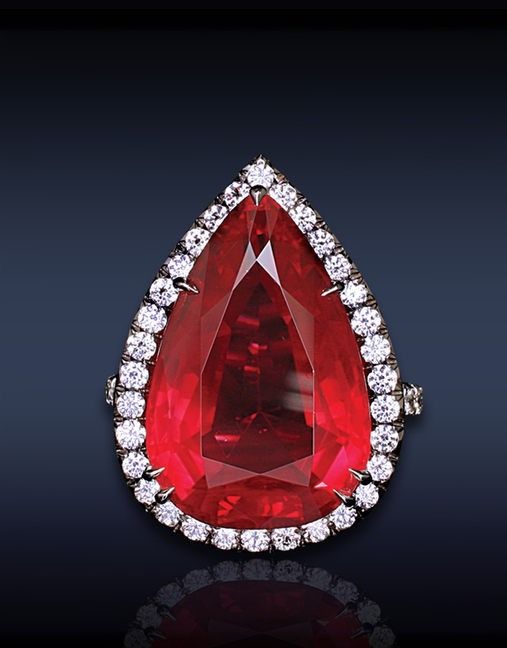 JACOB & CO cocktail ring ~  / 41.49 ct pear shape ruby cabochon & diamonds <3