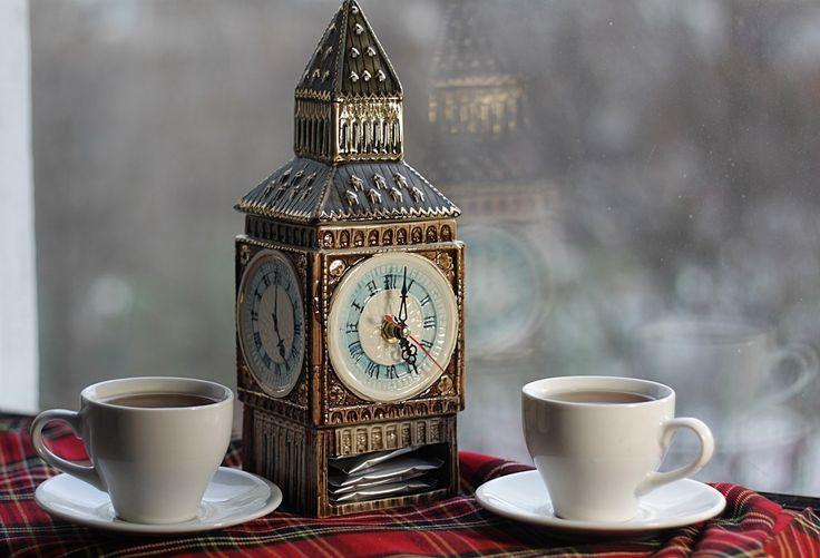 Чайница фарфоровая для пакетиков с часами Five oclock