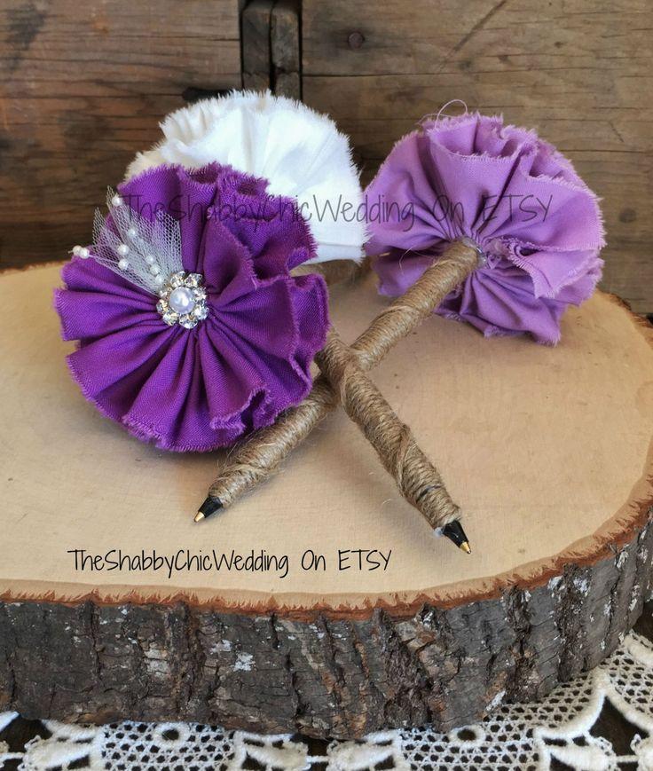 Pen For Wedding Guest Book, Handmade Flower Pen, Shabby Chic Wedding Pen, Rose Pen, Purple Pen, Plum Pen, Lavender Flower Pen by TheShabbyChicWedding on Etsy