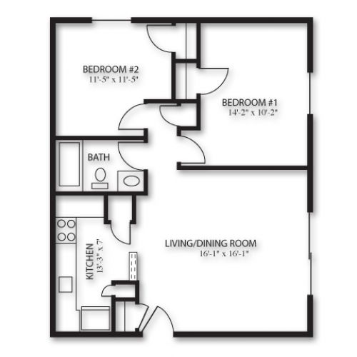 2D Floor Plan image 1 for the 2 Bedroom Garden Floor Plan of
