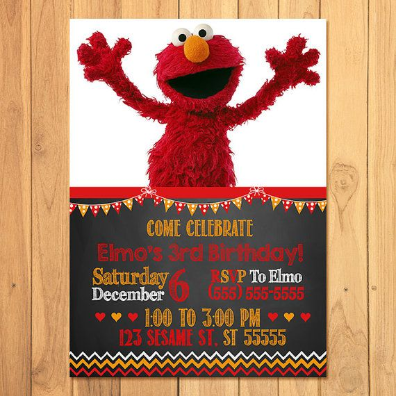 Its an Elmo Party!    Thank you for stopping by my store! I have for you here a Elmo Invitation - this item is a printable, digital Elmo invitation,