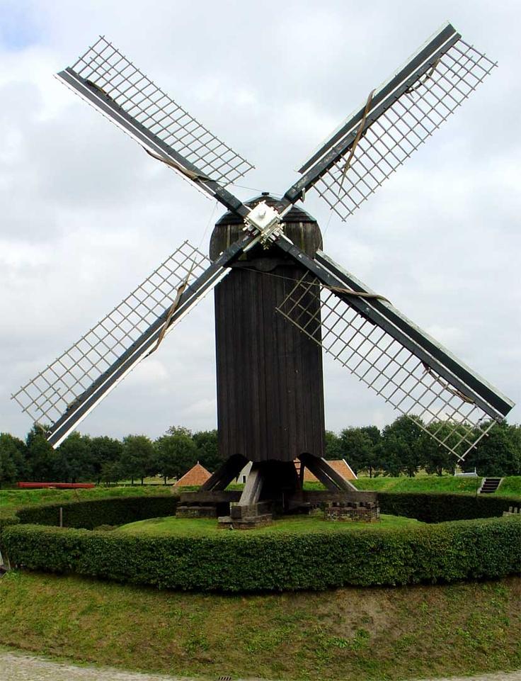 Windmill at Bourtange, Groningen (province), Netherlands.