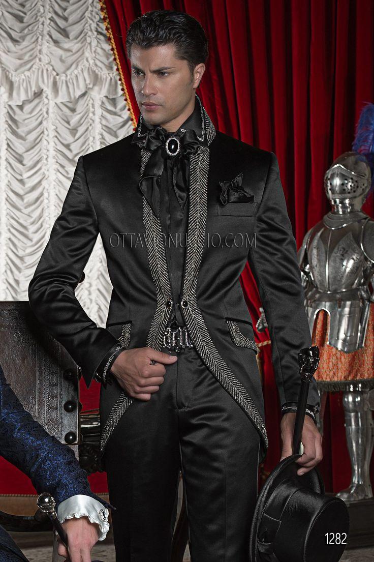 Abito sposo in raso nero con passamaneria di strass / Black Satin Wedding Suits…