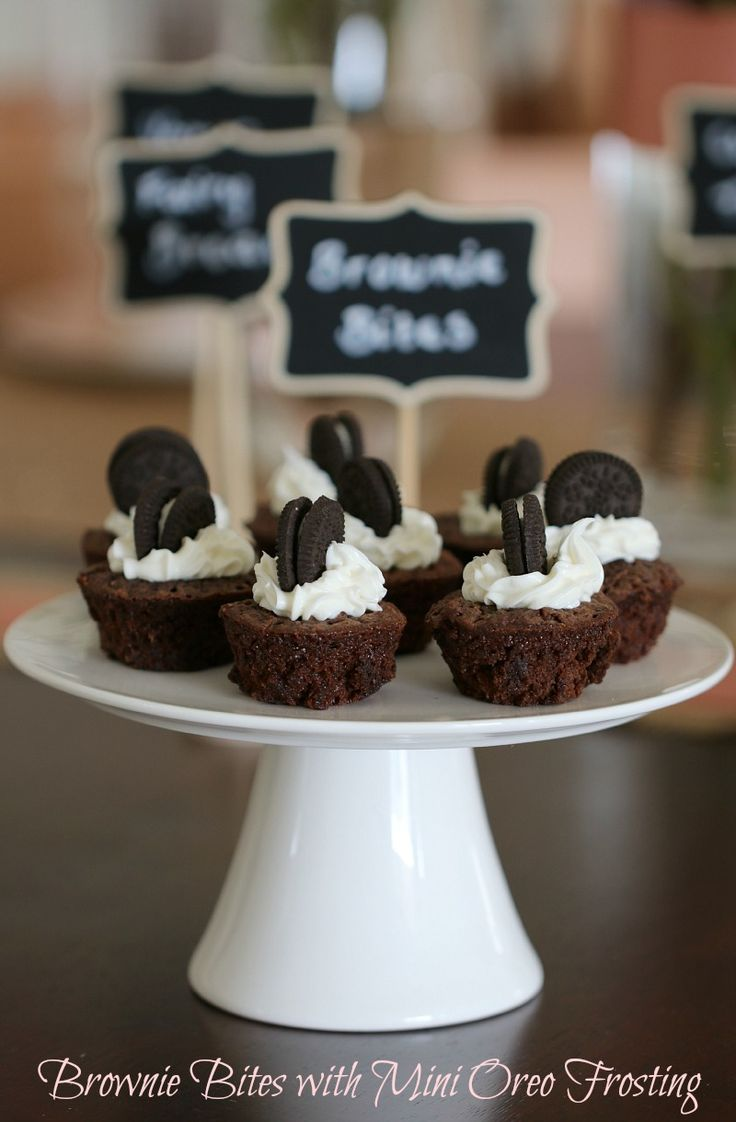 Bite Sized Brownies with Mini Oreo Frosting