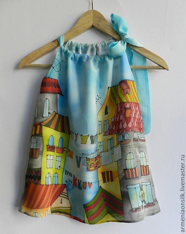 """Детское платье """"Большая стирка"""" - голубой,стирка,белье,город,городской пейзаж"""