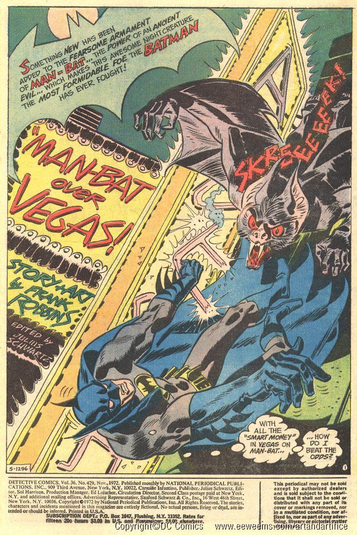 Fashion of the bat an extremely thorough examination of batman s - Batnan Fights Man Bat Splash Page By Frank Robbins