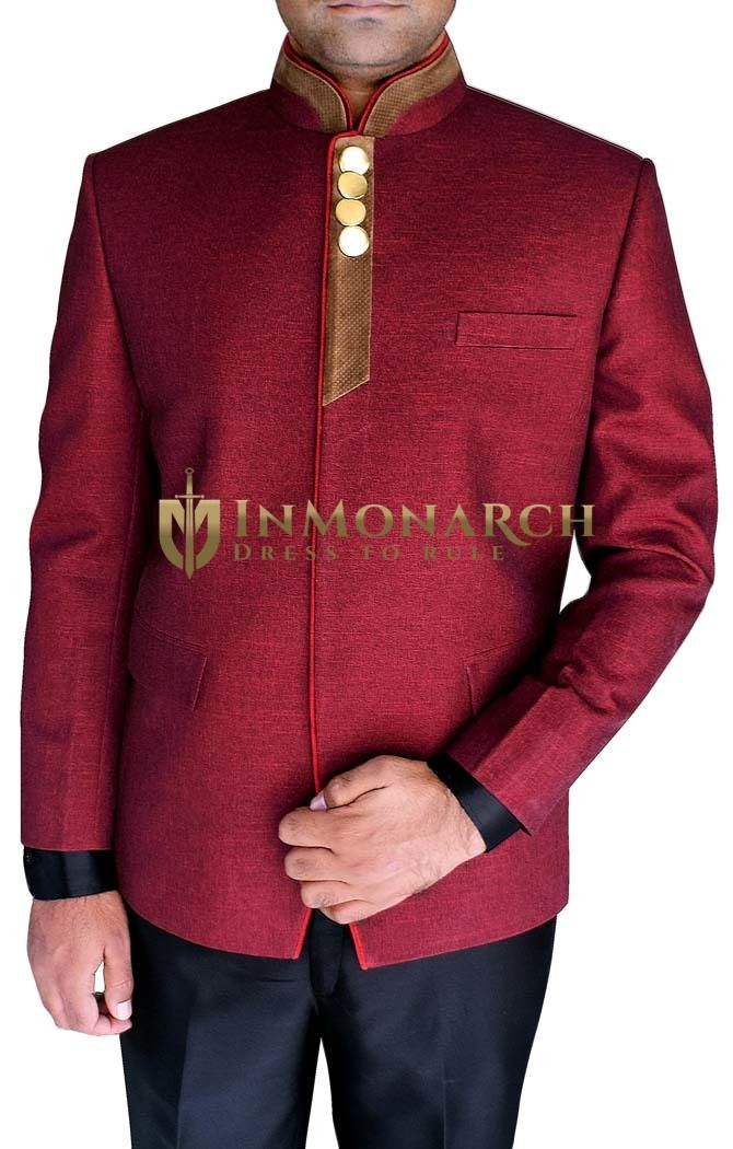 Mens Burgundy Nehru Jacket Stunning Look